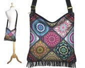 Colorful  Boho Hippie Bag, Cross Body Hobo Purse, Bohemian Crossbody Bag, Gyspy Fringe Purse Mandala blue purple orange aqua yellow RTS