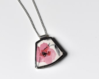 Broken China Jewelry Pendant - Pink and White