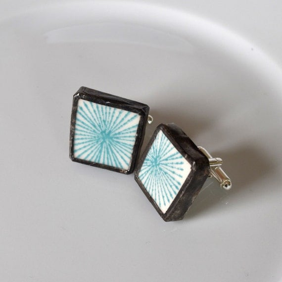 Broken China Cuff Links - Turquoise and White