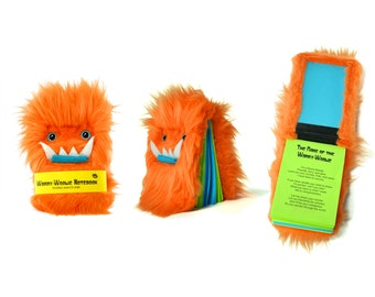 Notebook Worry-Woolie, an orange and green fuzzy magical monster pocket journal