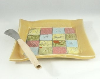 Handmade Square Salad Plate - Trinket Dish, Ceramic plate , square tray for sushi, tapas, salad, bread - spoon rest - key bowl, bread plate