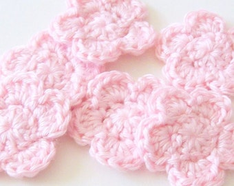 Crochet Flowers Appliques, Pink Flower Embellishment, Scrapbooking, Set of 6, Crochet Flower Motif