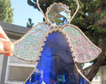 Angel, Royal Blue, with Clear Jewel in Stained Glass, Suncatcher