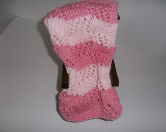Doll Blanket, Hand Knit Blanket,Pink and Pale Pink  Doll Blanket, Doll Accessories,  Lacy Doll Blanket, Gift Idea