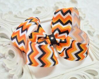 Halloween Chevron Boutique Hair Bow - medium, large, extra large - halloween bow - black orange and white - girls bows