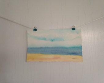 Watercolor Beach Painting, Original Beach Art, Seashore Painting, Beach Watercolor Painting, 10 x 6 inches, Cottage Decor