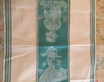 Vintage Irish Tea Towel Dutch Girl and Boy
