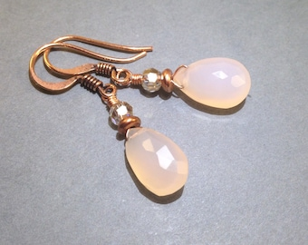 Pink Chalcedony Earrings - AB Czech Glass - Copper Earrings - Gemstone Earrings - Boho Jewelry - Hippie Jewelry - Gift For Her