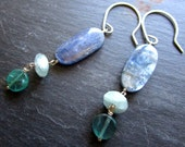 Elegant Aquamarine Kyanite Apatite Earrings - Sterling Silver - The Blues - Etsy Jewelry - catROCKS - Grace and Frankie - Gemstone - Dangle