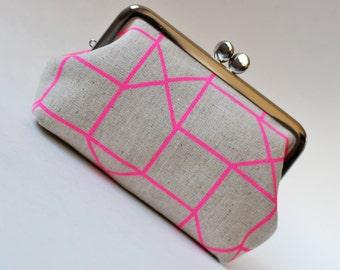 kiss lock purse neon pink geometric natural linen kiss lock pouch square modern purse clasp purse frame purse