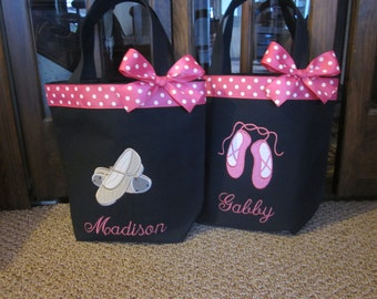 TOTE BAG Dance Tote with Sweet Tap Shoes or Ballet Slippers WITH Ribbon Trim and Bow
