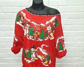 Off the shoulder Christmas Party Shirt from upcycled thrift sweatshirt Womens Medium