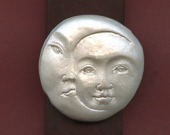 Polymer Clay Pearl Sun and Moon on a Mahogany Bead  MNBD 7