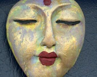 Polymer OOAK Buddha Face  Cab  Pale Blue NBD 1