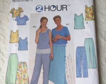 Simplicity 7975 Sewing Pattern 2 Hour Top, Pull On Pants, Long Skirt Casual Clothes, Misses Size H 6-8-10 OOP