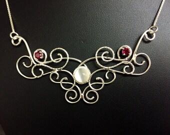 Fantasy Romantic Elvish Renaissance Necklace, Boho OOAK necklace, Art Nouveau Scroll Necklaces, Wedding Jewelry Necklace, Bridal Necklace