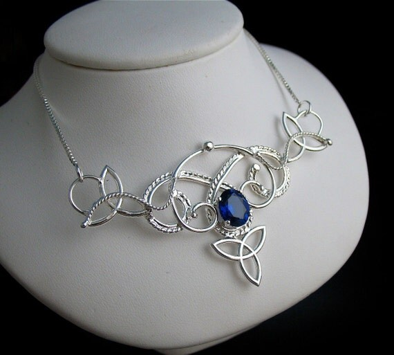 Renaissance Celtic Pendant Necklace with 10x8mm oval Lab Sapphire, Statement Necklace, Sterling Silver Handmade, OOAK Celtic Jewelry
