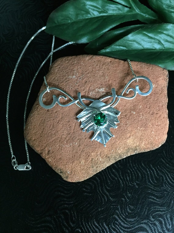 Woodland Elvin Leaf Necklace  Sterling Silver with Lab Emerald