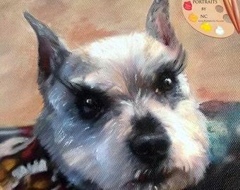 Schnauzer Dog Portrait I Custom Schnauzer Portrait I Schnauzer Painting From Your Photo I Pet Portraits by NC