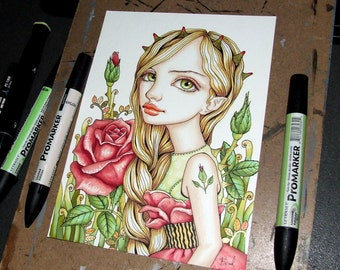 Rosa - original pen and ink illustration by Tanya Bond