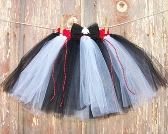 Black White and Red Tutu Size 2T-6 with Matching Hair Bow