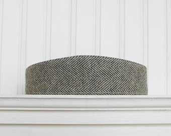Gray and Ivory Wool Herringbone Headband - Fabric Headbands - Womens Headband - Wool Hair Wrap