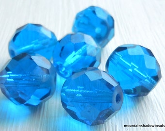 6 - 12mm Firepolished Faceted Round Beads Capri Blue Czech Glass Beads (GG - 1)