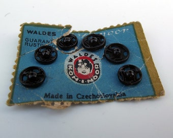 Vintage Black Rustless Metal Snap Fasteners - Size 1 & 2 - Craft Supplies