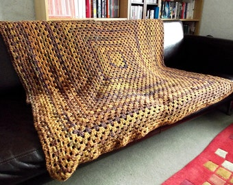 Giant Vintage Style Granny Square Blanket in gorgeous soft wool - wide choice of colours made to order