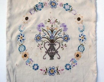 Vintage Embroidered Cushion Pillow Cover - Flowers and Urn