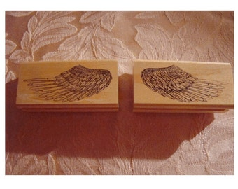 Pair of Rubber Stamps ~  Left & Right ANGEL WINGS - RuBBER STaMPS OF AmERICA ~ Vermont ~ UnUSED