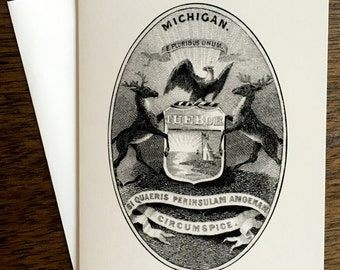 Michigan Coat of Arms Black and White Illustration - Greeting Card  - Blank Inside