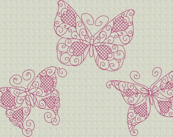 INSTANT DOWNLOAD Butterfly Love Redwork Machine Embroidery Designs