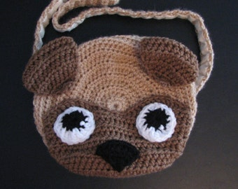 Crochet Pattern - Pug Purse Bag Crochet Pattern - Pug Pattern - Tote Pattern - Animal Tote Pattern - Pug Tote - Digital Download