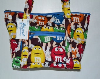 Quilted Fabric Handbag Purse Brown with M&M Guys