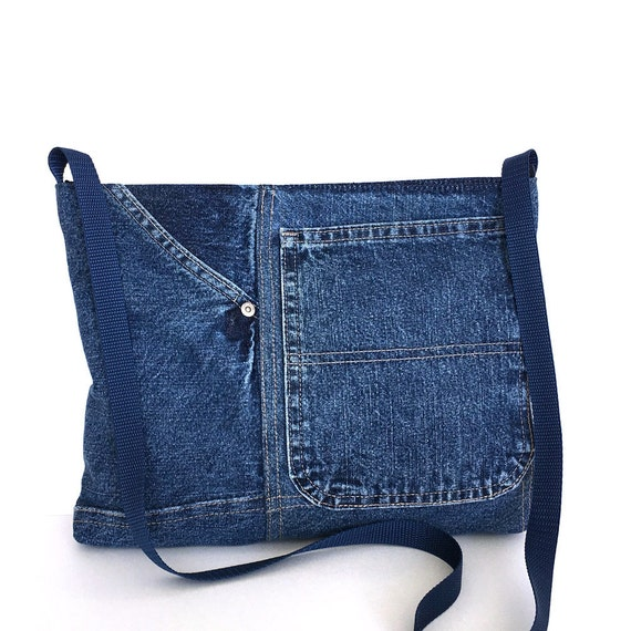 Recycled crossbody bag small blue jean side bag girls