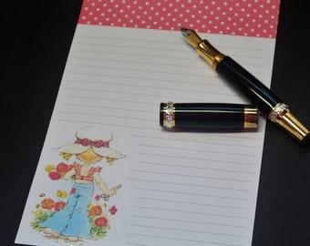 Garden Girl, social stationery set, fine writing set, hand written letter, 30 pieces, letter writing set, snail mail, like Holly Hobbie