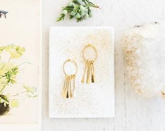 Golden Brass Paddle Chandelier Earrings, Little Golden Dangle earrings