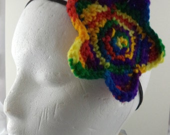 Crocheted Large Star Headband - Rainbow (SWG-HH-STLG10)