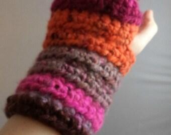 Multi-Colored (Warm) Striped Crocheted Wrist Warmers (size S-M) (SWG-WW-SJ10)