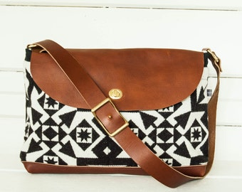 Condensed Pattern Wool and Leather Messenger Bag
