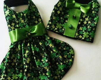 A pretty little dog dress or vest for St. Patrick's day for your Irish Pet or Chihuahua or Yorkie