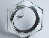 Black faceted lucite octagon bracelet with real exotic beetles