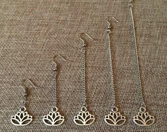 Lotus Flower Earrings - Lotus Earrings - Silver Lotus Earrings - Dangle Earrings / Long Earrings / Chain Earrings / Bohemian Jewelry