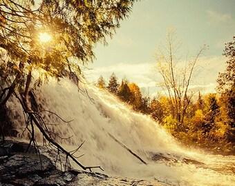 Summer Sale - Bond Falls - Autumn Photography, Fall Landscape, Warm Tones, Michigan, Nature, Sunset