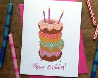 Donut Cake Birthday Card: Single Card