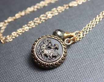 Victorian Button Necklace Metal Equestian Picture Button Necklace Antique Button Gold Chain Pyrite Man on a Horse Necklace
