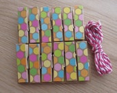 Pastel Circus Party Polka Dots Clips w Twine for Photo Display - Chunky Little Clothespin Set of 12