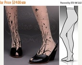 SALE25%off/// Small/ Medium  fabulous FOREST SYMPHONY tattoo stockings / full length / pantyhose / nylons Light Mocha