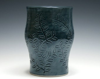 Dark Blue Vase with Branches and Leaves